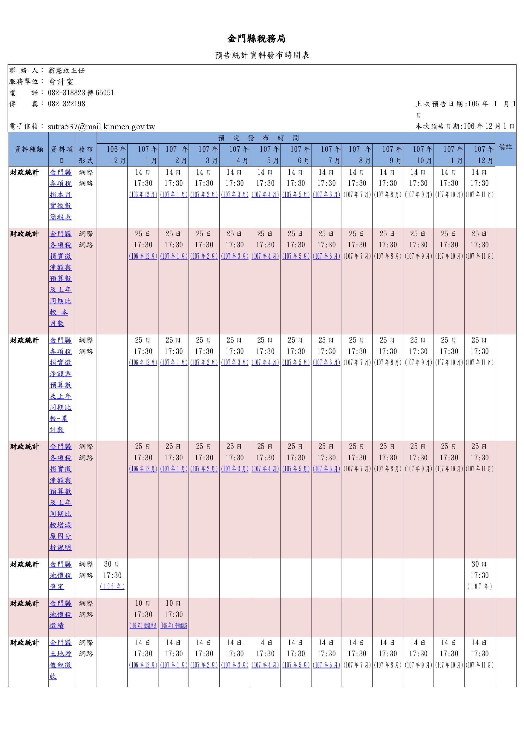 預告統計資料發布時間表格式10612~10712
