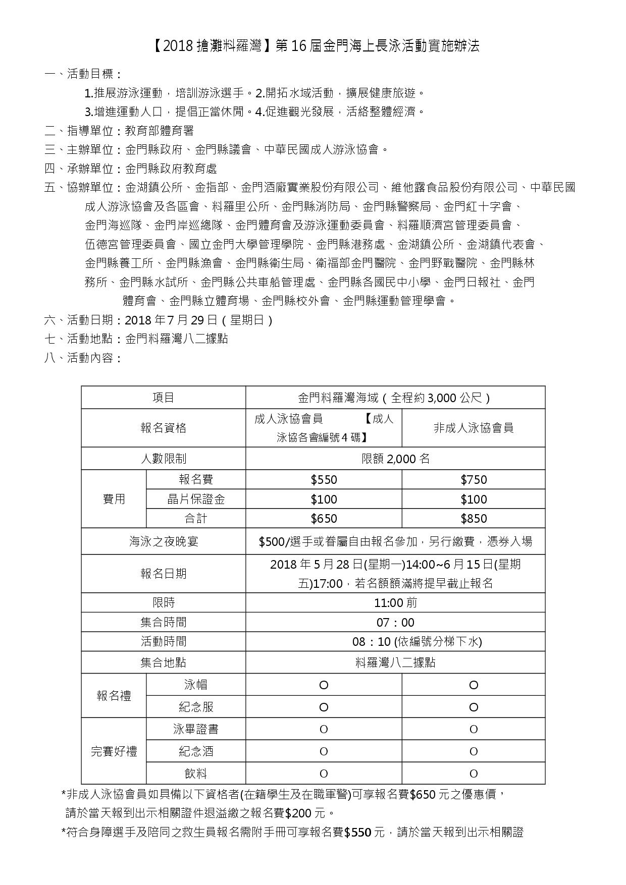 2018搶灘料羅灣活動辦法