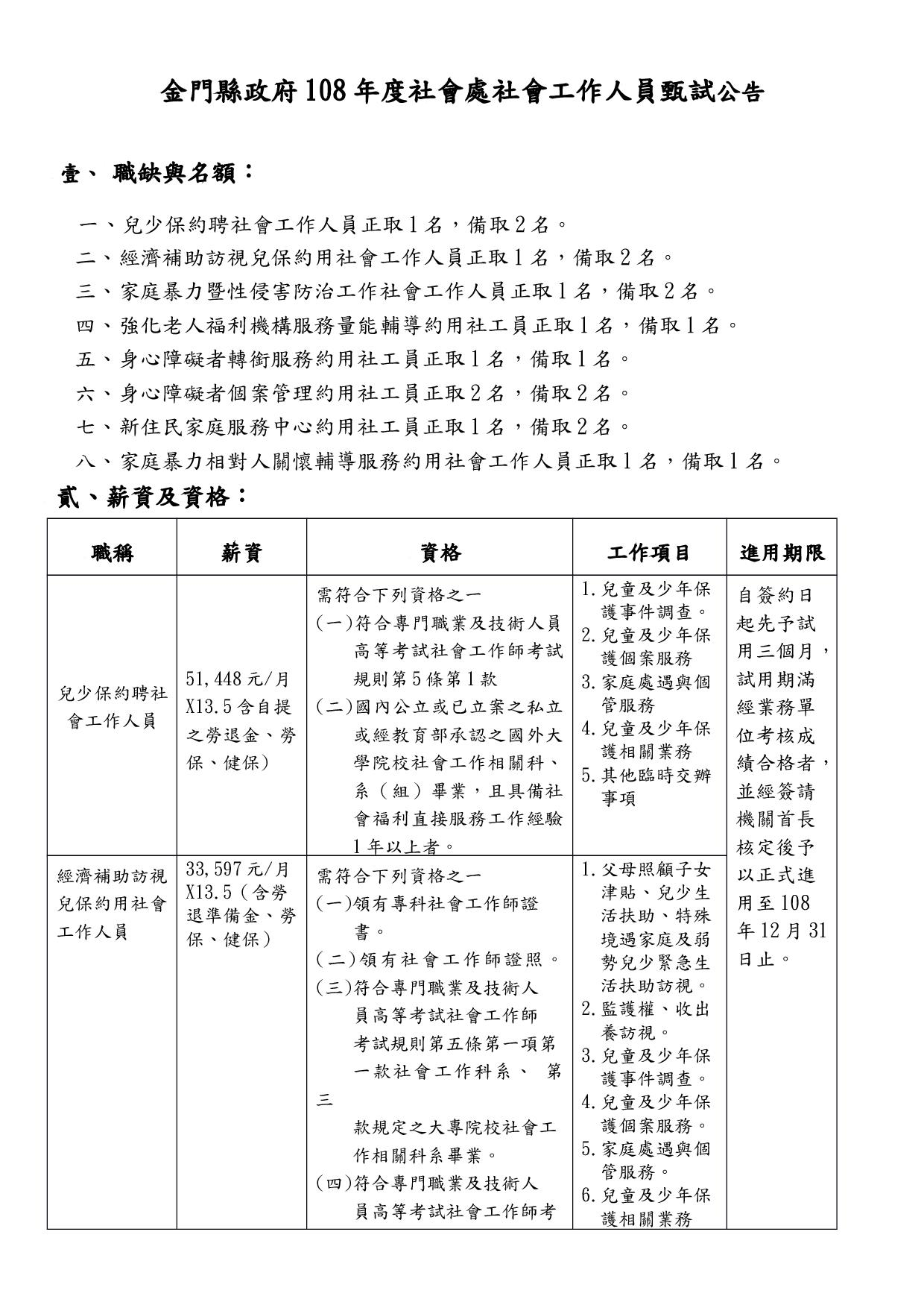 金門縣政府108年度社會處社會工作人員甄試公告