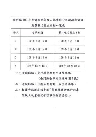 計程車考試日程表