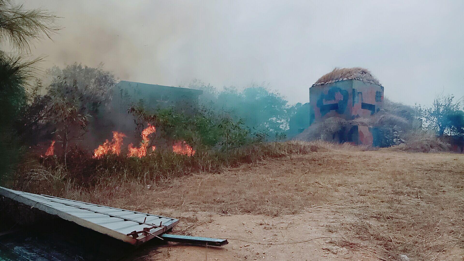 火勢緊鄰軍方營區情形