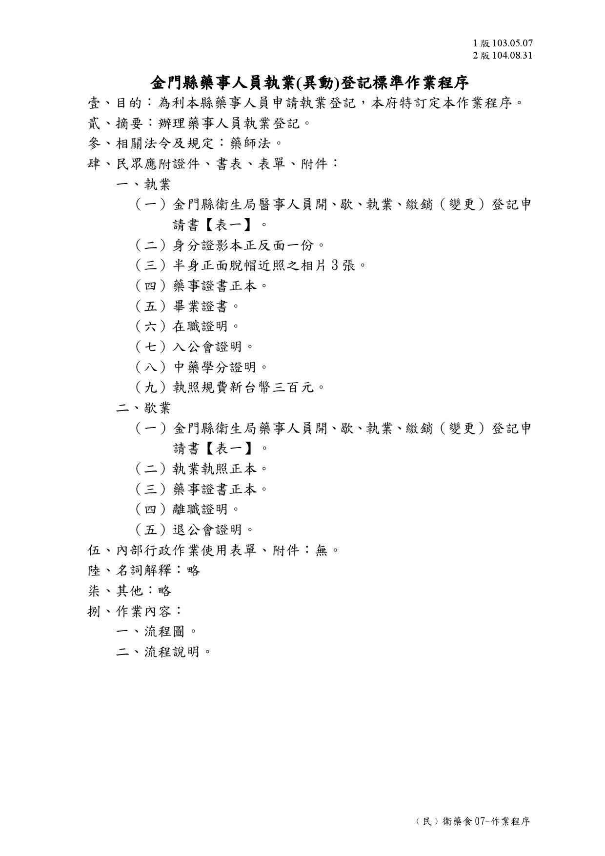 (民)衛藥食07-作業程序