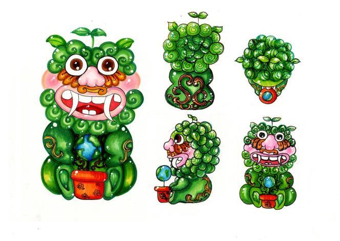 以綠化環境為主題,顏色以綠色為主。將綠寶寶造型可愛化,頭頂上的嫩芽、眼睛下方的花瓣睫毛以及腳底葉腳掌是他的特色,綠寶寶是象徵著等待長大成樹的小嫩芽,而她的身體上會有捲草當裝飾,在它手中抱著會有金門建築常用的裝飾雲紋的盆栽,那盆栽裡面因為每天種下一株芽兒長出了一顆美麗乾淨的地球樹。