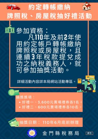 1100329-約定轉帳繳納牌照稅、房屋稅