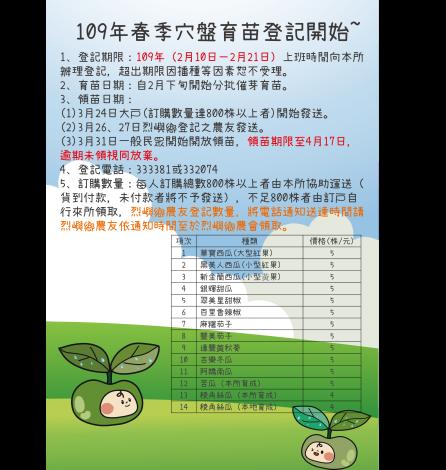 109年春季穴盤育苗登記公告