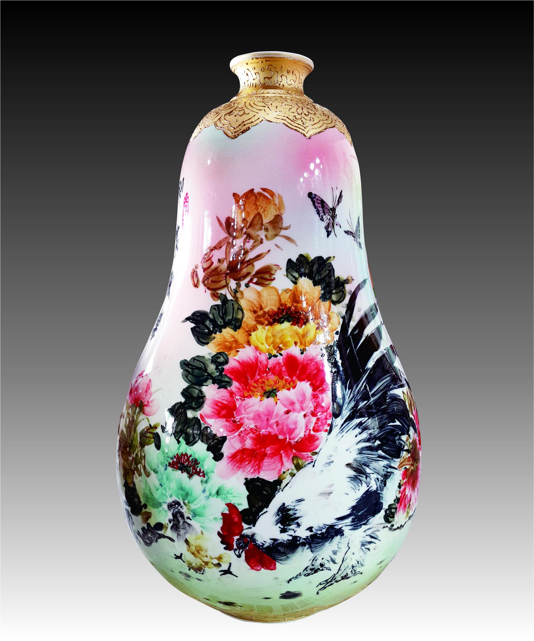 彩金彩繪闔家歡樂葫蘆瓶