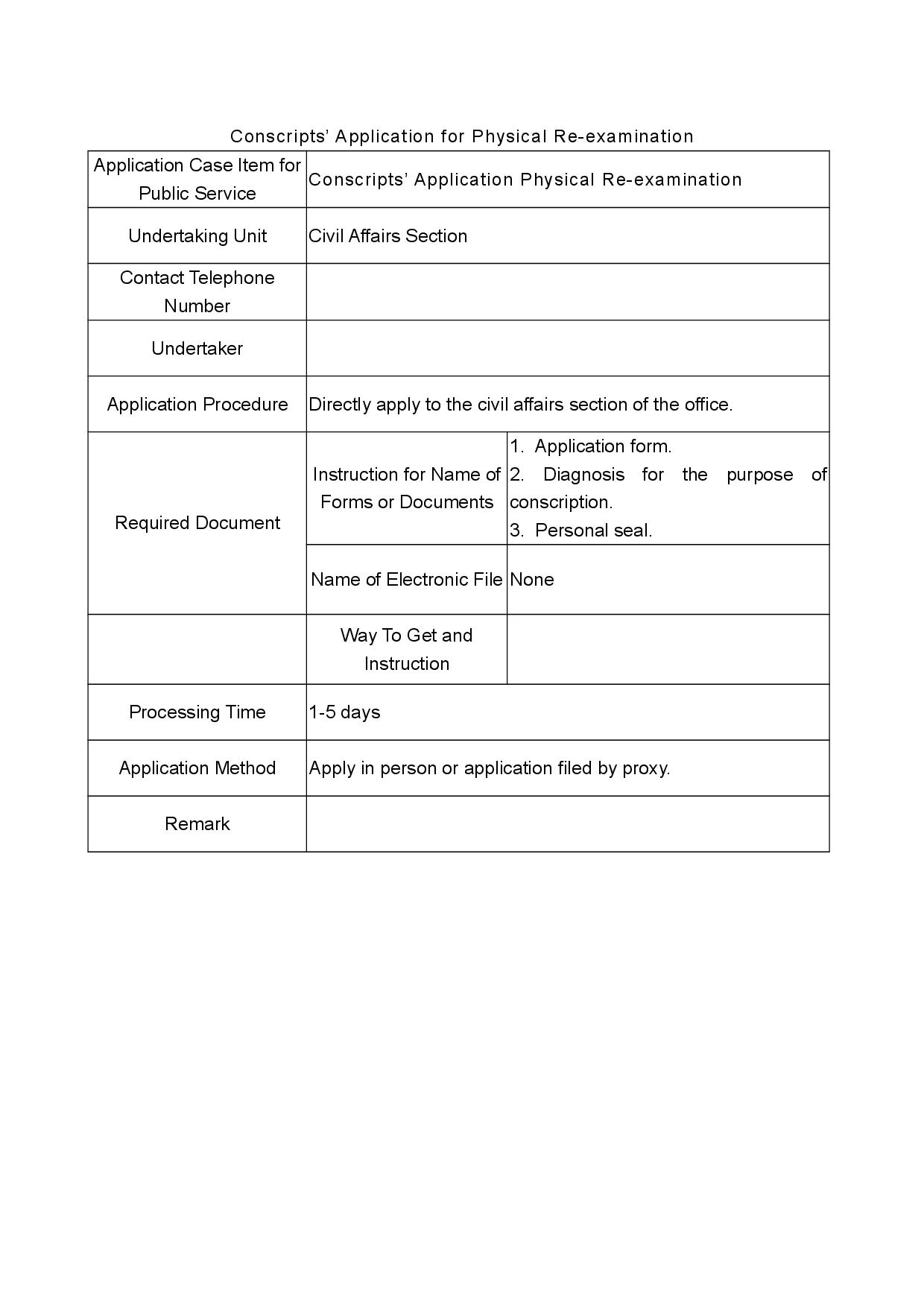 Conscripts' Application for Physical Re-examination