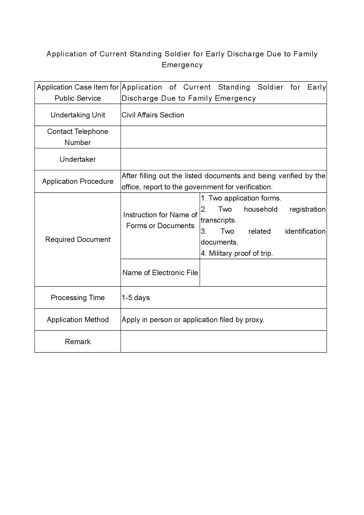 Application of Current Standing Soldier for Early Discharge Due to Family Emergency