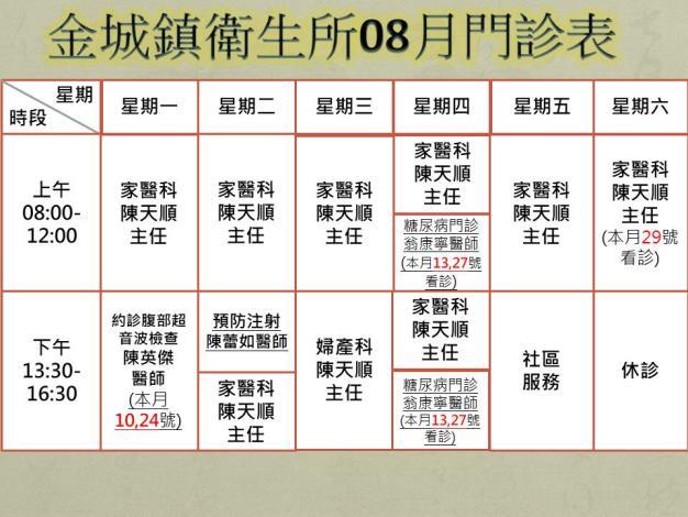 8月門診時刻表