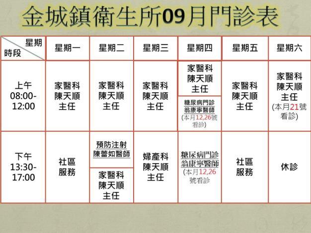 金城鎮衛生所門診9月時刻表