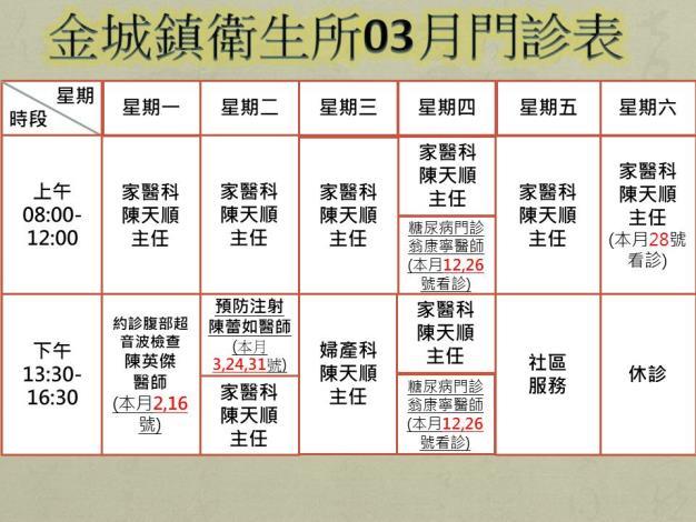 3月份門診時刻表