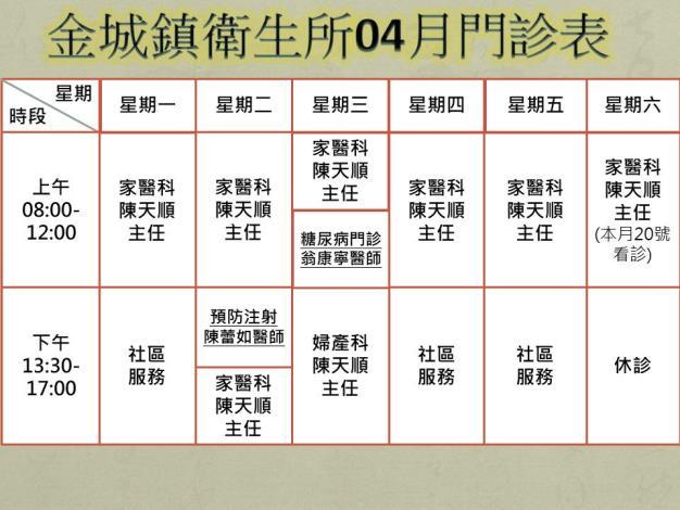 金城鎮衛生所門診時刻表