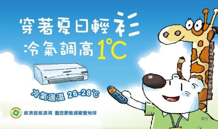 穿著夏日輕衫,冷氣調高1度C,夏日冷氣適溫26-28度C