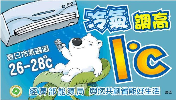 冷氣調高1度C,夏日冷氣適溫26-28度C
