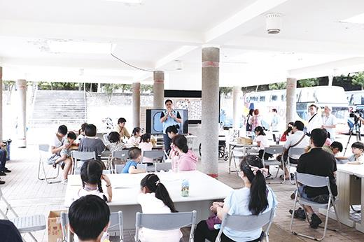 養工所舉辦共融式遊戲場工作坊,讓民眾了解設計內容。