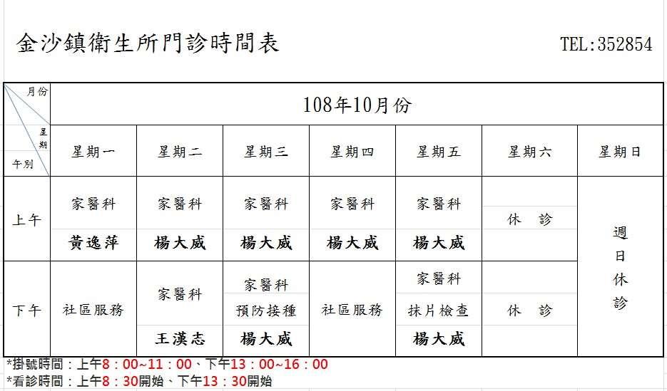 金沙鎮衛生所10月份門診表