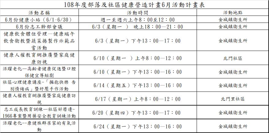 6月活動計畫表